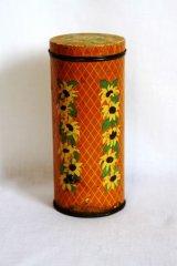 オランダ お花柄円柱の缶